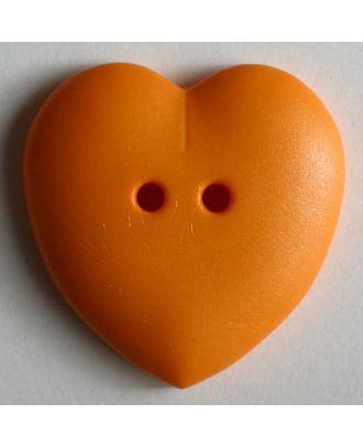 hübscher Herzknopf, rundlich gewölbte Form, 2-Loch - Größe: 15mm - Farbe: orange - Art.Nr. 219050