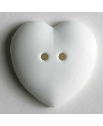 hübscher Herzknopf, rundlich gewölbte Form, 2-Loch -  Größe: 15mm - Farbe: weiß - Art.Nr. 219026