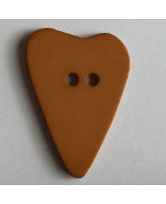 Herzknopf, asymmetrische Form, 2-Loch - Größe: 28mm - Farbe: braun - Art.Nr. 289112