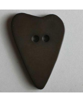 Herzknopf, asymmetrische Form, 2-Loch - Größe: 28mm - Farbe: braun - Art.Nr. 289056