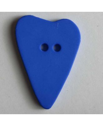 Herzknopf, asymmetrische Form, 2-Loch - Größe: 28mm - Farbe: blau - Art.Nr. 289058