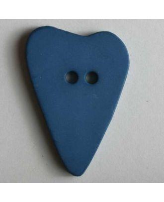 Herzknopf, asymmetrische Form, 2-Loch - Größe: 15mm - Farbe: blau - Art.Nr. 219059