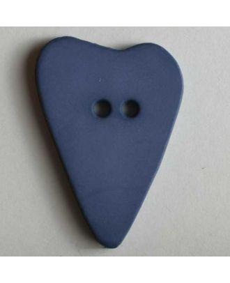 Herzknopf, asymmetrische Form, 2-Loch - Größe: 15mm - Farbe: blau - Art.Nr. 219060