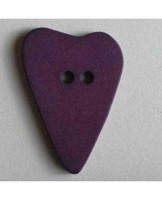 Herzknopf, asymmetrische Form, 2-Loch - Größe: 28mm - Farbe: lila - Art.Nr. 289064