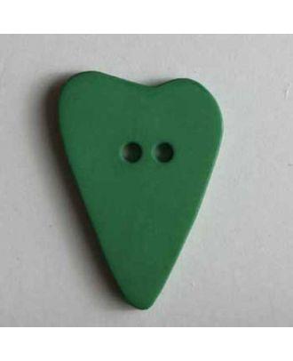 Herzknopf, asymmetrische Form, 2-Loch - Größe: 28mm - Farbe: grün - Art.Nr. 289065