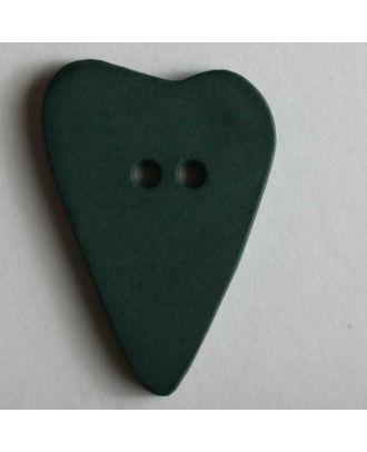 Herzknopf, asymmetrische Form, 2-Loch - Größe: 28mm - Farbe: grün - Art.Nr. 289067