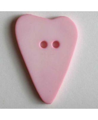 Herzknopf, asymmetrische Form, 2-Loch - Größe: 15mm - Farbe: pink - Art.Nr. 219068