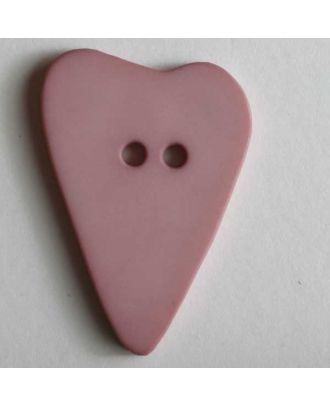 Herzknopf, asymmetrische Form, 2-Loch - Größe: 28mm - Farbe: pink - Art.Nr. 289070