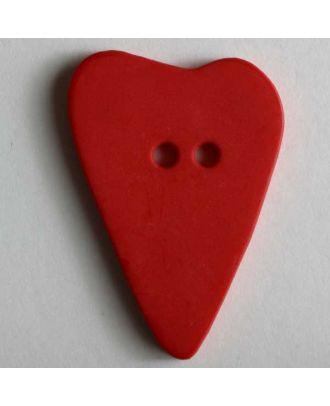 Herzknopf, asymmetrische Form, 2-Loch - Größe: 28mm - Farbe: rot - Art.Nr. 289071