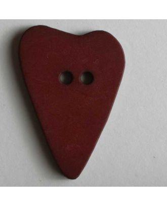 Herzknopf, asymmetrische Form, 2-Loch - Größe: 28mm - Farbe: rot - Art.Nr. 289072