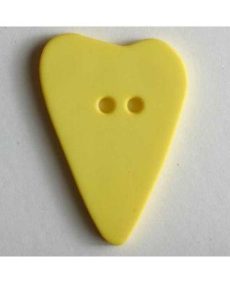 Herzknopf, asymmetrische Form, 2-Loch - Größe: 15mm - Farbe: gelb - Art.Nr. 219073