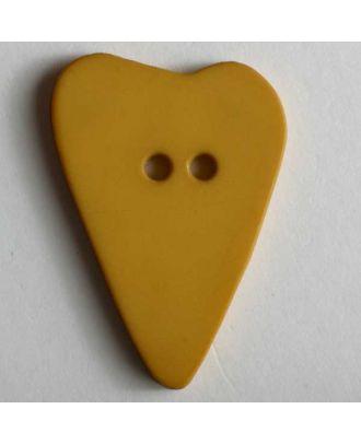Herzknopf, asymmetrische Form, 2-Loch - Größe: 15mm - Farbe: gelb - Art.Nr. 219074