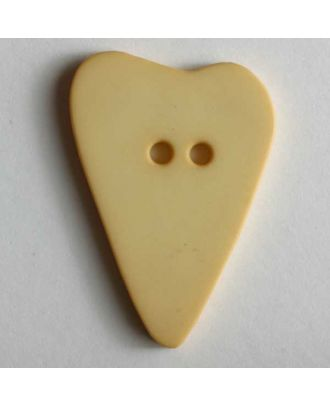 Herzknopf, asymmetrische Form, 2-Loch - Größe: 28mm - Farbe: gelb - Art.Nr. 289115