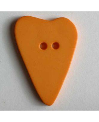 Herzknopf, asymmetrische Form, 2-Loch - Größe: 15mm - Farbe: orange - Art.Nr. 219075