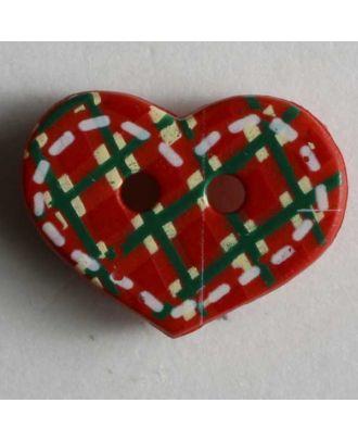 Kinderknopf Herz mit Stickmuster- Größe: 15mm - Farbe: rot - Art.Nr. 221690