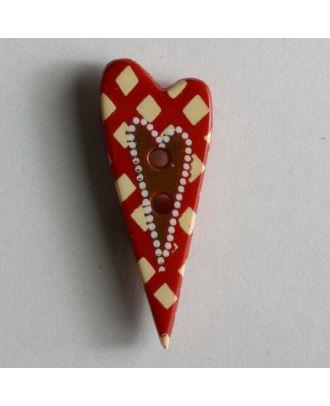Kinderknopf längliches Herz mit Perlen - Größe: 25mm - Farbe: rot - Art.Nr. 280774