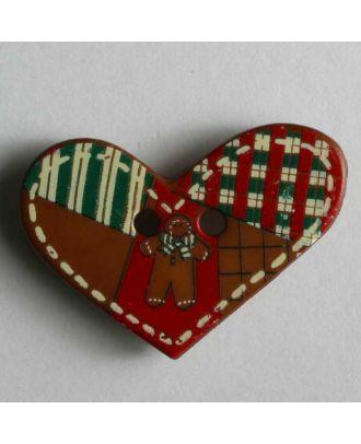 KInderknopf Herz mit Lebkuchenmännchen - Größe: 25mm - Farbe: braun - Art.Nr. 280775