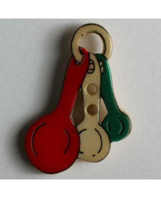Kinderknopf - 3 Löffel an einem Ring - Größe: 25mm - Farbe: beige - Art.Nr. 280778