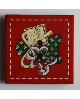 Weihnachtsknopf quadratisch mit Geschenk bemalt - Größe: 25mm - Farbe: rot - Art.Nr. 280782