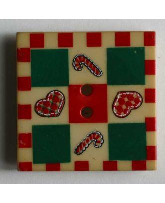 Weihnachtsknopf mit Zuckerstangen und Herzchen - Größe: 25mm - Farbe: beige - Art.Nr. 280783