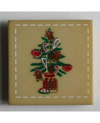 Weihnachtsknopf dekorierter Christbaum - Größe: 25mm - Farbe: beige - Art.Nr. 280784
