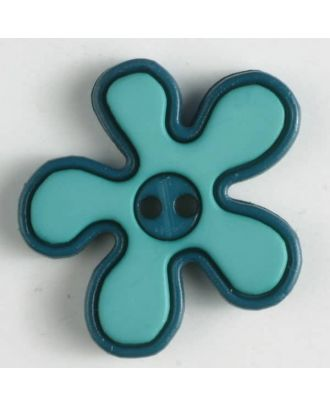 hübscher Blumenknopf mit farbiger Umrandung, 2-loch -  Größe: 20mm - Farbe: grün - Art.Nr. 281041