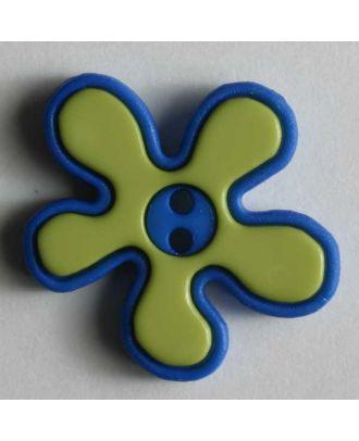 Polyamidknof, Blume, 2-teilig, 2-loch - Größe: 20mm - Farbe: grün - Art.Nr. 280787