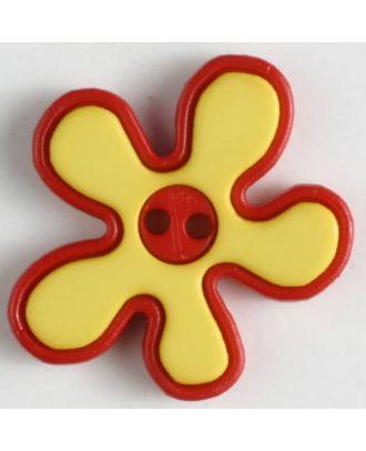 hübscher Blumenknopf mit farbiger Umrandung, 2-loch - Größe: 20mm - Farbe: gelb - Art.Nr. 281045