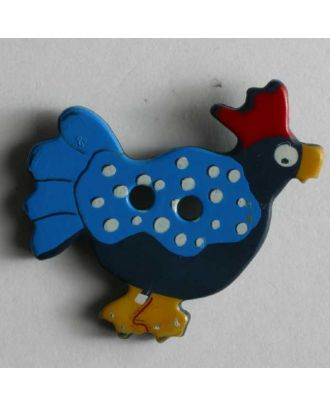 Kinderknopf bunter Gockelhahn - Größe: 25mm - Farbe: blau - Art.Nr. 280789
