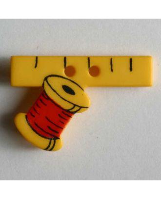 Kinderknopf Maßband und Nähfaden - Größe: 25mm - Farbe: gelb - Art.Nr. 280794