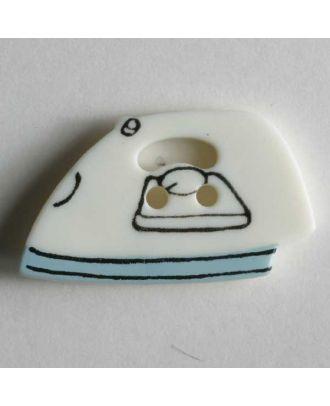 Kinderknopf in Form eines Bügeleisens - Größe: 25mm - Farbe: weiß - Art.Nr. 280796
