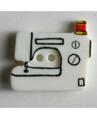 Kinderknopf in Form einer Nähmaschine - Größe: 25mm - Farbe: weiß - Art.Nr. 280798