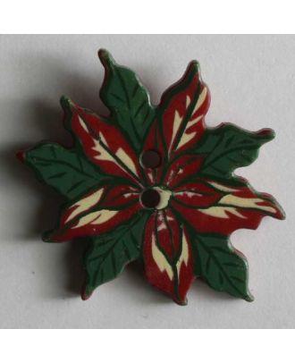 Weihnachtsknopf  Weihnachtsstern - Größe: 25mm - Farbe: rot - Art.Nr. 330542