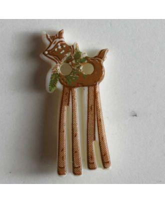 Weihnachtsknopf Hirsch mit langen Beinen - Größe: 20mm - Farbe: braun - Art.Nr. 280813