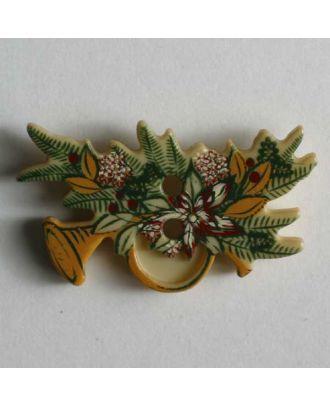 Weihnachtsknopf Trompete auf Tannenzweig - Größe: 25mm - Farbe: beige - Art.Nr. 330547