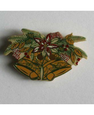 Weihnachtsknopf Glocken auf Tannenzweig - Größe: 25mm - Farbe: beige - Art.Nr. 330548