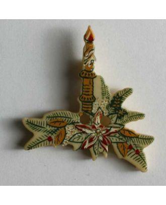 Weihnachtsknopf Kerze auf Tannenzweig - Größe: 25mm - Farbe: beige - Art.Nr. 330549