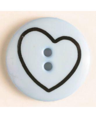 Kinderknopf mit schiefem Herz - Größe: 34mm - Farbe: blau - Art.Nr. 350384