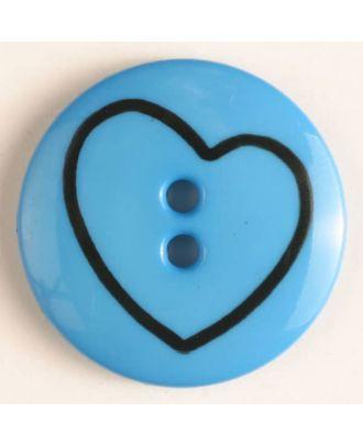Kinderknopf mit schiefem Herz -  Größe: 34mm - Farbe: blau - Art.Nr. 350378
