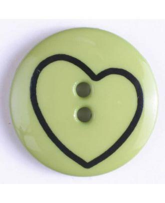Kinderknopf mit schiefem Herz - Größe: 34mm - Farbe: grün - Art.Nr. 350379