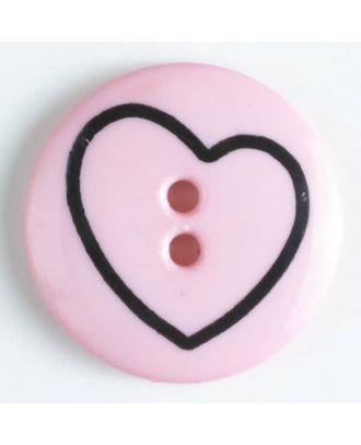 Kinderknopf mit schiefem Herz -  Größe: 18mm - Farbe: pink - Art.Nr. 241163