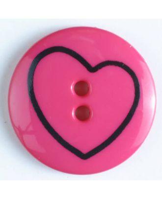 Kinderknopf mit schiefem Herz - Größe: 25mm - Farbe: pink - Art.Nr. 300937