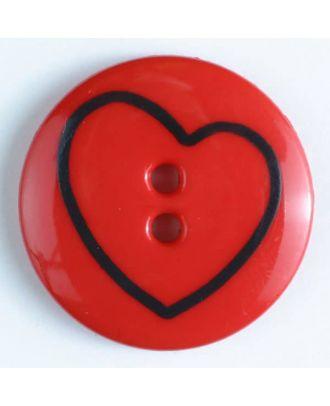 Kinderknopf mit schiefem Herz - Größe: 34mm - Farbe: rot - Art.Nr. 350381