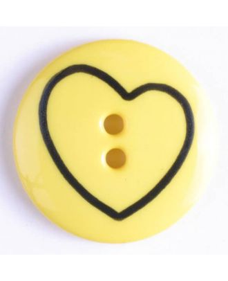 Kinderknopf mit schiefem Herz - Größe: 18mm - Farbe: gelb - Art.Nr. 241160
