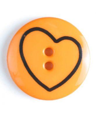 Kinderknopf mit schiefem Herz - Größe: 34mm - Farbe: orange - Art.Nr. 350383