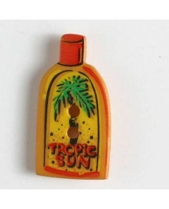 Kinderknopf in Form einer Sonnencremeflasche - Größe: 22mm - Farbe: orange - Art.Nr. 320613