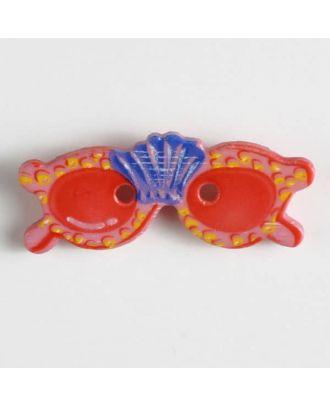 Kinderknopf in Form einer Sonnenbrille - Größe: 28mm - Farbe: pink - Art.Nr. 360433