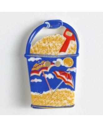 Kinderknopf in Form eines Sandeimers - Größe: 28mm - Farbe: weiß - Art.Nr. 360434