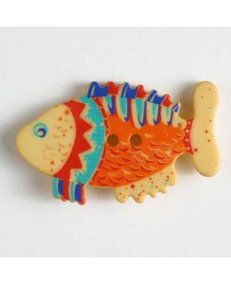 Kinderknopf in Form eines bunten Fisches - Größe: 30mm - Farbe: gelb - Art.Nr. 370311