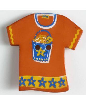 Kinderknopf in Form eines T-Shirts  - Größe: 28mm - Farbe: rot - Art.Nr. 360435